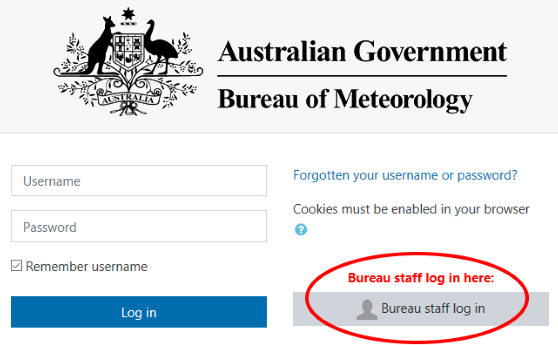 screenshot showing the Bureau staff login button on the login page