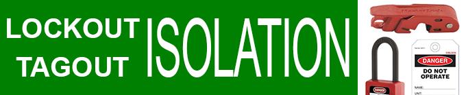 Lockout Tagout Isolation - Circuit breaker lock, padlock and danger tag