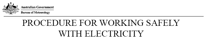 Procedure For Working Safely With Electricity